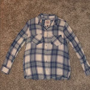 Navy, blue, and white button down flannel